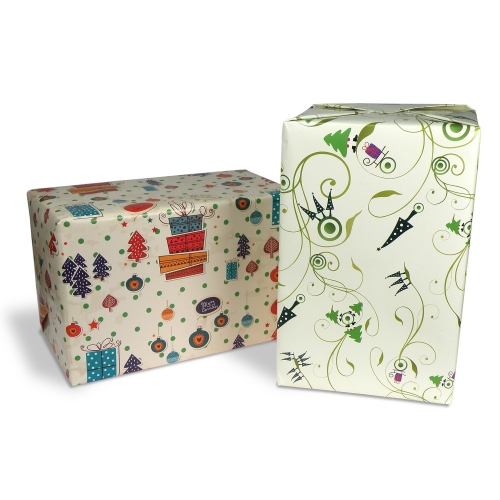 Christmas gift wrap paper romantic floral - set of 10