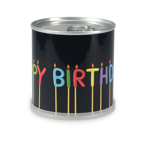 Flowers in cans - Happy Birthday candles