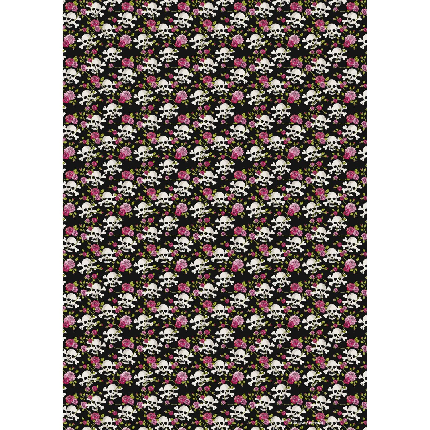Wrapping paper skull with red roses - 10er Set
